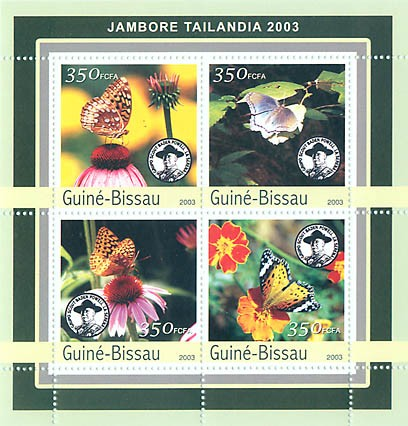 Jamboree Tailandia 2003 - butterfly 4 x 350 FCFA - Issue of Guinée-Bissau postage stamps
