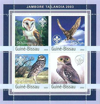 Jamboree Tailandia 2003 - owls 4 x 500 FCFA - Issue of Guinée-Bissau postage stamps