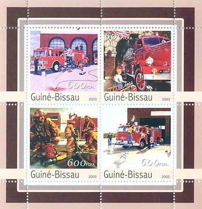 Fire engines  4 x 600 FCFA - Issue of Guinée-Bissau postage stamps