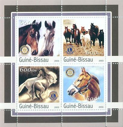 Horses  4 x 600 FCFA - Issue of Guinée-Bissau postage stamps