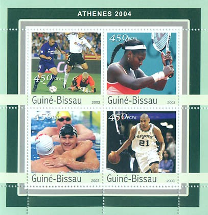 Athenes 2004  4 x 450 FCFA - Issue of Guinée-Bissau postage stamps