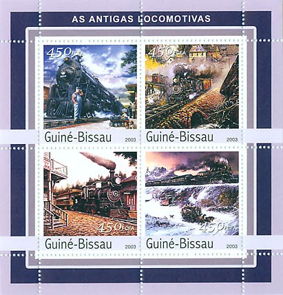 Ancient trains  4 x 450 FCFA - Issue of Guinée-Bissau postage stamps