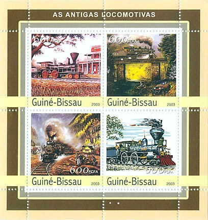 Ancient trains  4 x  600 FCFA - Issue of Guinée-Bissau postage stamps