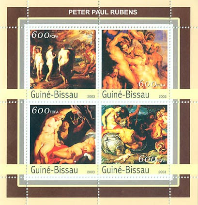 Nudes of Rubens  4 x 600 FCFA - Issue of Guinée-Bissau postage stamps