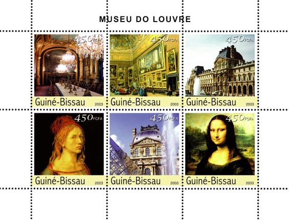 Museum of Louvre  6 x 450 FCFA - Issue of Guinée-Bissau postage stamps