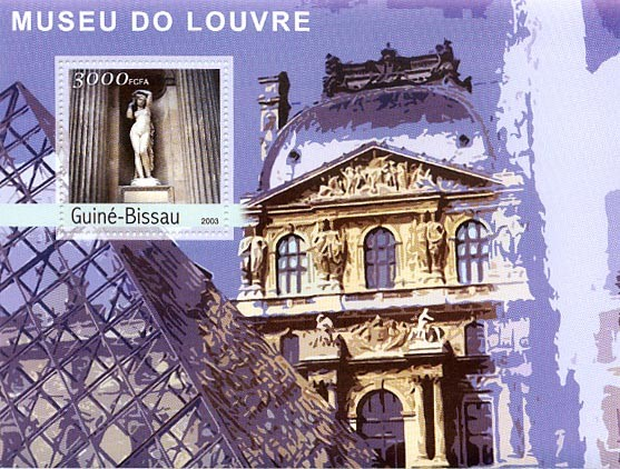 Museum of Louvre  3000 FCFA S/S - Issue of Guinée-Bissau postage stamps