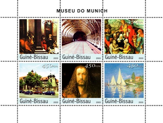 Museum of Munich 6 x 450 FCFA - Issue of Guinée-Bissau postage stamps