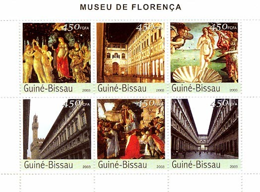 Museum of Florence 6 x 450 FCFA - Issue of Guinée-Bissau postage stamps