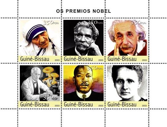 Prix Nobel 1(M.Teresa, Schweitzer, Einstein, Fleming, M.L.King, M.Ccuire) 6 x 350 FCFA - Issue of Guinée-Bissau postage stamps
