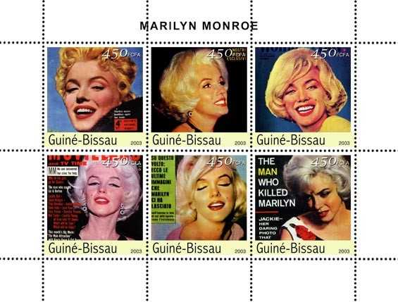 Marilyn Monroe 6 x 450 FCFA - Issue of Guinée-Bissau postage stamps