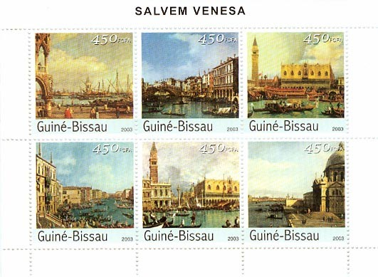 Saving Venice 6 x 450 FCFA - Issue of Guinée-Bissau postage stamps