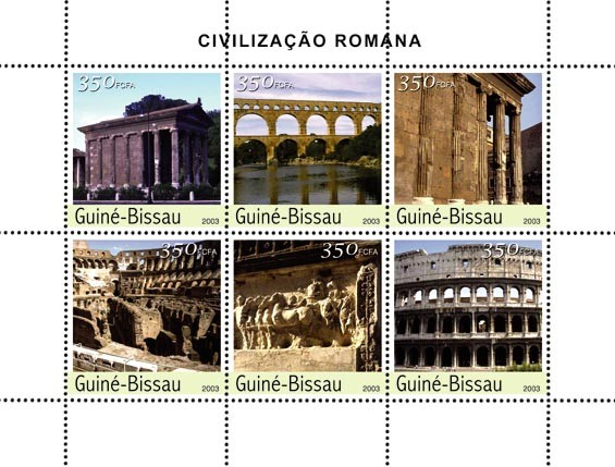 Civilization of Rome 6 x 350 FCFA - Issue of Guinée-Bissau postage stamps