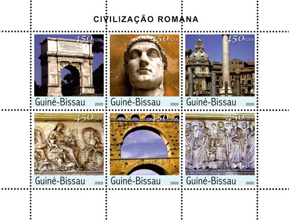 Civilization of Rome 6 x 450 FCFA - Issue of Guinée-Bissau postage stamps