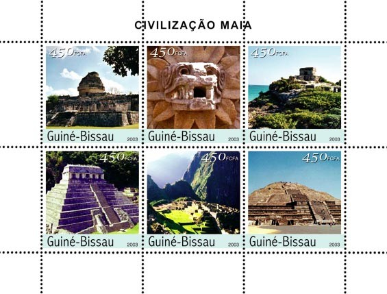 Civilization of Maya 6 x 450 FCFA - Issue of Guinée-Bissau postage stamps
