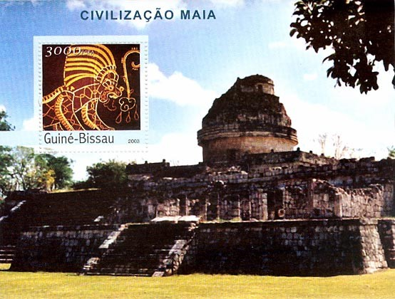 Civilization of Maya 3000 FCFA   S/S - Issue of Guinée-Bissau postage stamps