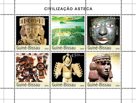 Civilization of Azteque 6 x 450 FCFA - Issue of Guinée-Bissau postage stamps