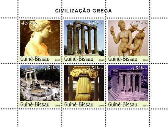 Civilization of Greece 6 x 450 FCFA - Issue of Guinée-Bissau postage stamps