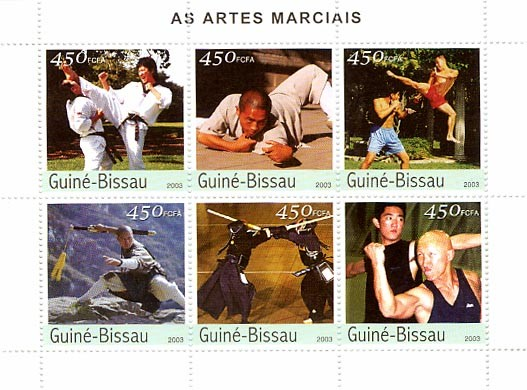 Martial Arts 6 x 450 FCFA - Issue of Guinée-Bissau postage stamps