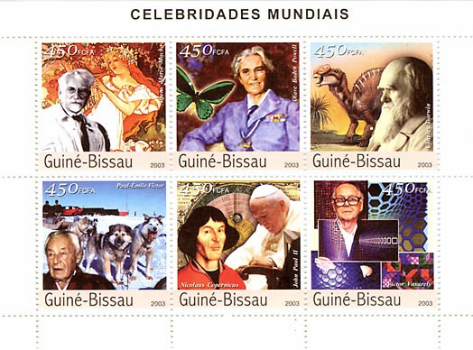 Celebrities 1 (Mucha, O.B.Powell, Darwin, P.E. Victor, Copernic, J.Paul II,Vazarley)  6 x 450 FCFA - Issue of Guinée-Bissau postage stamps