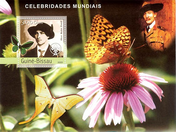 Celebrities 1  (O.B.Powel - scouts) 3000 FCFA  S/S - Issue of Guinée-Bissau postage stamps