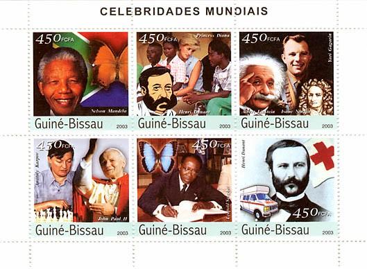 Celebrities 2 (Mandela, Dunant, Einstein-Newton-Gagarin, Karpov-J.Paul II, H.Senghor) 6 x 450 FCFA - Issue of Guinée-Bissau postage stamps