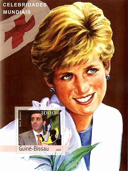 Celebrities 2 (Kasparov-Diana) 3000 FCFA  S/S - Issue of Guinée-Bissau postage stamps