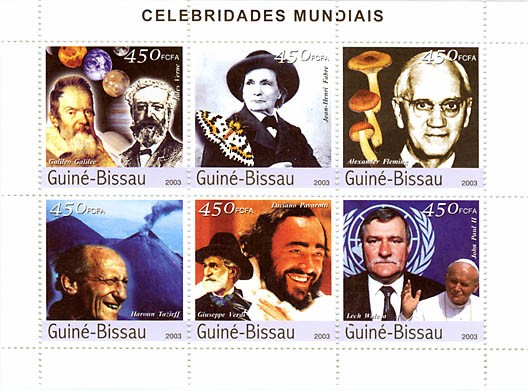Celebrities 3 (Galilee-J.Verne, J.A.Fabre, Fleming, Tazief, Pavarotti-Verdi, Walesa-J.Paul II)  6 x 450 FCFA - Issue of Guinée-Bissau postage stamps