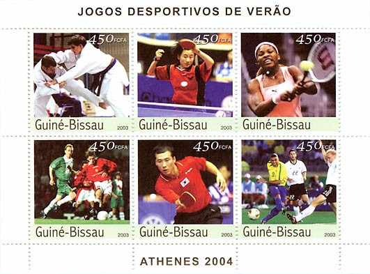 Athens 2004 6 x 450 FCFA - Issue of Guinée-Bissau postage stamps