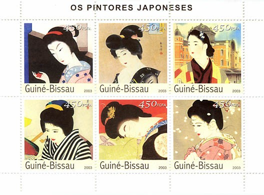 Art of Japanese 6 x 450 FCFA - Issue of Guinée-Bissau postage stamps