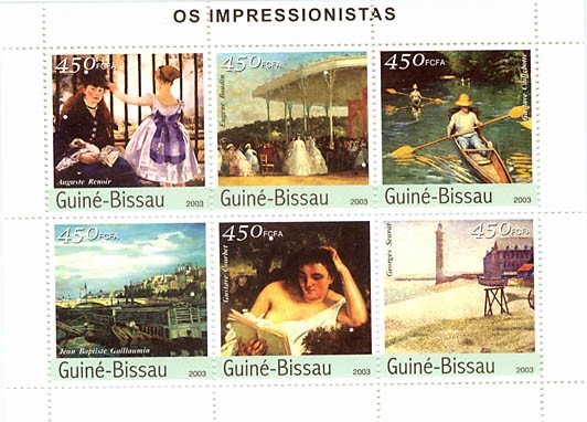 Impressionistes 1 (Renoir, Boudin, Caillebotte, Seurat, Guillaumin, Courbet)  6 x 450 FCFA - Issue of Guinée-Bissau postage stamps