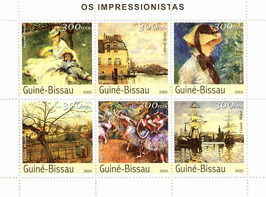 Impressionistes 2 (Renoir, Sisley, Morisot, Pissaro,Degas, Monet)  6 x 300 FCFA - Issue of Guinée-Bissau postage stamps