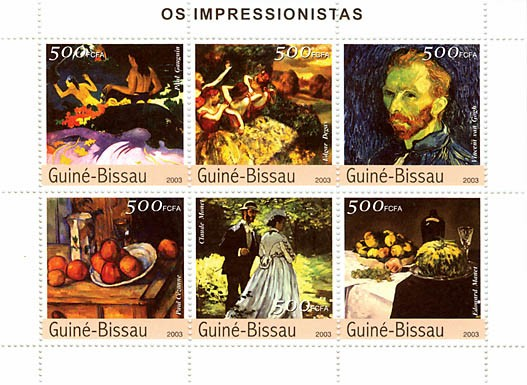 Impressionistes 4  (Gauguin, Degas, Van Gogh, Cezanne, Monet, Manet)  6 x 500 FCFA - Issue of Guinée-Bissau postage stamps