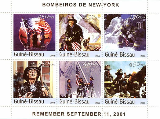 Fire engines of New York    6 x 450 FCFA - Issue of Guinée-Bissau postage stamps