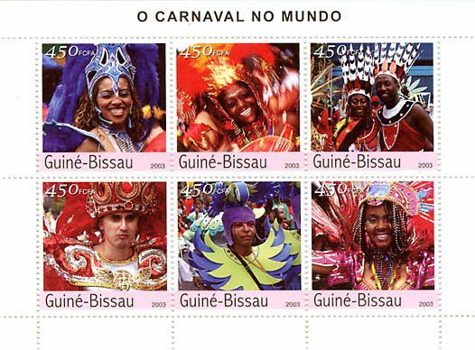 Carnival of Brasilia 6 x 450 FCFA - Issue of Guinée-Bissau postage stamps