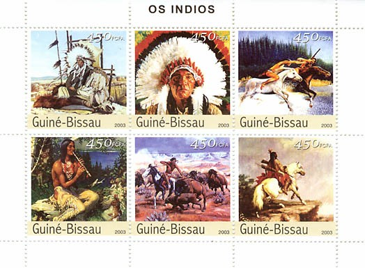 American Indians  6 x 450 FCFA - Issue of Guinée-Bissau postage stamps