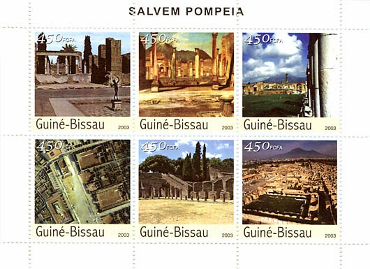 Pompeii  6 x 450 FCFA - Issue of Guinée-Bissau postage stamps