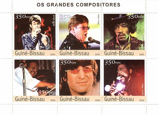 Great compositors(D. Bowie, E. John, J. Henndrix, F. Domino, J. Lennon, B. White) 6 x 350 FCFA - Issue of Guinée-Bissau postage stamps