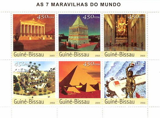 Seven wonders of the world  6 x 450 FCFA - Issue of Guinée-Bissau postage stamps