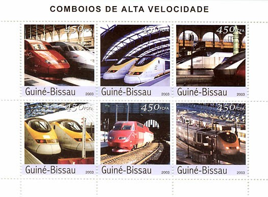 Modern trains  6 x 450 FCFA - Issue of Guinée-Bissau postage stamps