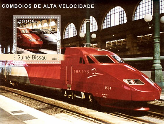 Modern trains  4000 FCFA  S/S - Issue of Guinée-Bissau postage stamps