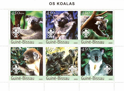 Koalas  6 x 450 FCFA - Issue of Guinée-Bissau postage stamps