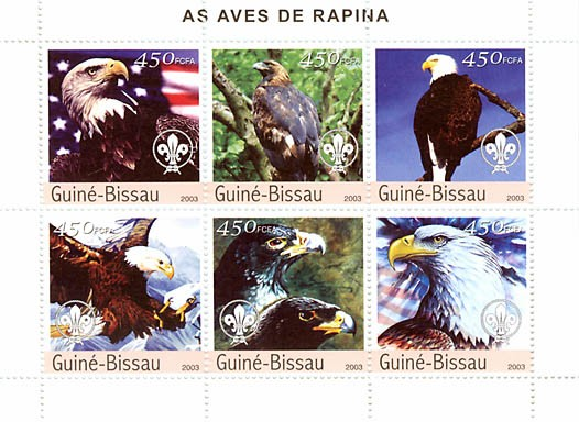 Raptors (scouts)  6 x 450 FCFA - Issue of Guinée-Bissau postage stamps