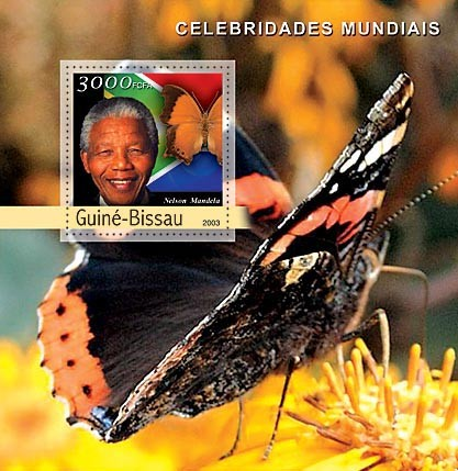 N.Mandela - Butterflies  3000 FCFA   S/S - Issue of Guinée-Bissau postage stamps