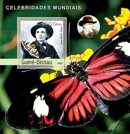 J.H.Fabre - Butterflies  3000 FCFA   S/S - Issue of Guinée-Bissau postage stamps