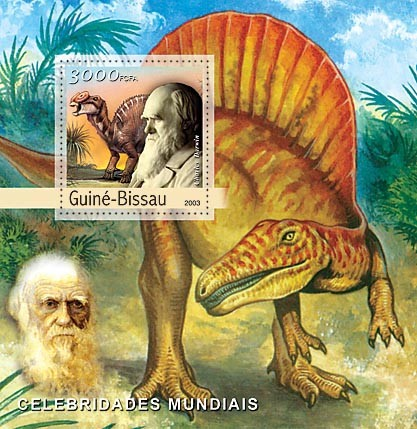 C.Darwin (dinosaurs)  3000 FCFA   S/S - Issue of Guinée-Bissau postage stamps