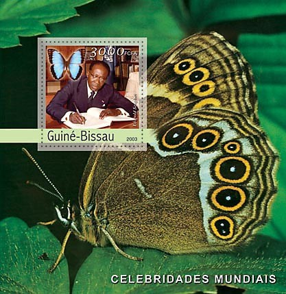 L.Senghor (butterflies)  3000 FCFA   S/S - Issue of Guinée-Bissau postage stamps