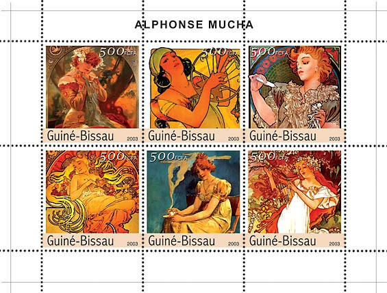 Paintings of Mucha 6v x 500 - Issue of Guinée-Bissau postage stamps