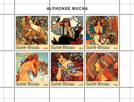Paintings of Mucha 6v x 450 - Issue of Guinée-Bissau postage stamps