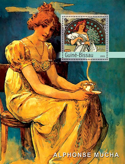 Paintings of Mucha s/s 3000 - Issue of Guinée-Bissau postage stamps