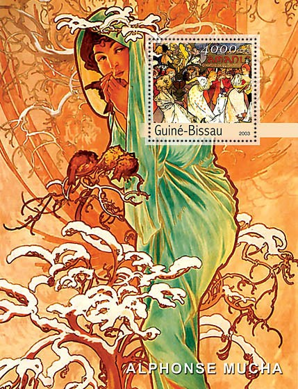 Paintings of Mucha s/s 4000 - Issue of Guinée-Bissau postage stamps